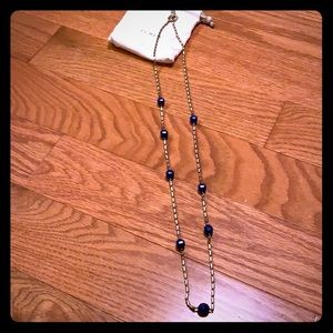 J. Crew long necklace with blue beads